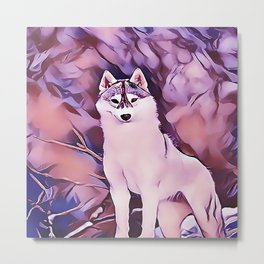 Arctic Wolf at Sunrise Metal Print