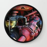 pocket fuel Wall Clocks featuring Fuel Sediment Bowl by Christopher Richards