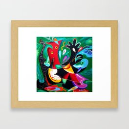 Taino Dance - Puerto Rican and Caribbean Vejigantes artwork Framed Art Print