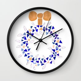 Gold and blue Christmas wreath Wall Clock