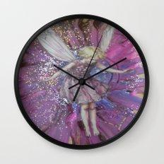 Pink Lady Garden Fairy Art Wall Clock