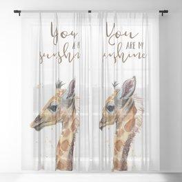 You Are My Sunshine Giraffe Nursery Animals Watercolor Art Sheer Curtain