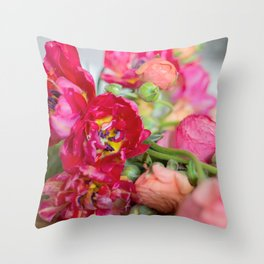 Fiery Red Flowers Throw Pillow