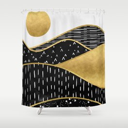 Gold Sun, digital surreal landscape Shower Curtain