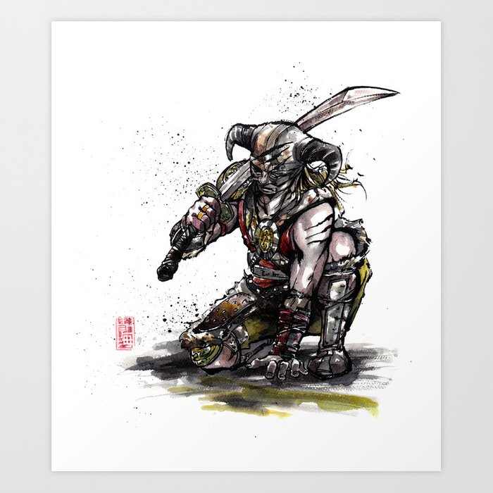Dragonborn Of Skyrim Japanese Sumie Style Art Print By