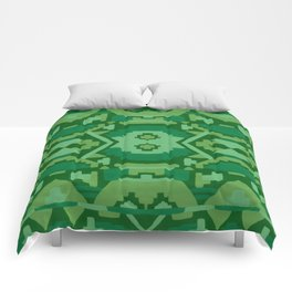 Geometric Aztec in Forest Green Comforters