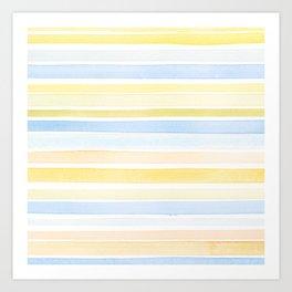 Watercolour stripes 01 Pale sea Art Print