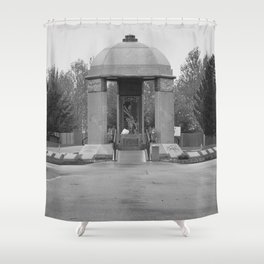 Jimi Hendrix Memorial Greenwood Memorial Park, Northeast Renton, Washington black and white photograph - photographs Shower Curtain