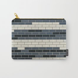 Blue Grey White Brick Wall Carry-All Pouch