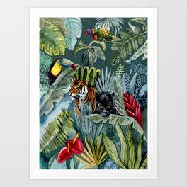Jungle with tiger and tucan Art Print