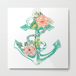 Anchor and Roses Metal Print