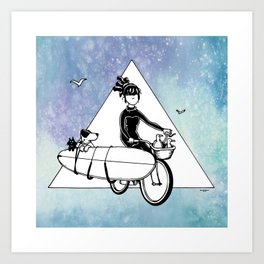 """ Dream. Bike. Surf "" Art Print"