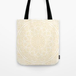 Pale Yellow Simple Simplistic Mandala Design Ethnic Tribal Pattern Tote Bag