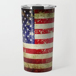 Grunge Vintage Aged American Flag Travel Mug