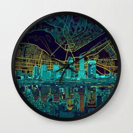 louisville skyline abstract Wall Clock