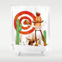cowboy Shower Curtains featuring Cowboy by Nacho Z. Huizar
