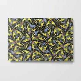 tiger swallowtail pattern graphic blue Metal Print