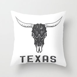 Texas Longhorn Skull Throw Pillow