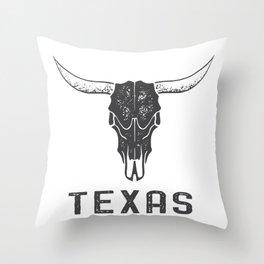 Texas Longhorn Skull Throw Pillow