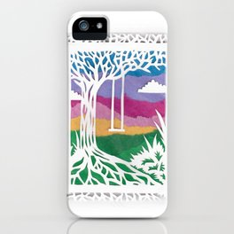 Sunset Swing Papercut iPhone Case
