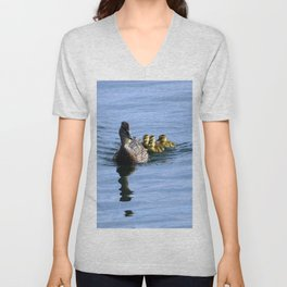 Mallard Duck Family Unisex V-Neck