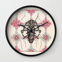 beetle Wall Clocks featuring Beetle by Cullinan Les