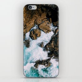 Ocean Waves Crushing On Rocky Landscape, Drone Photography, Aerial Landscape Photo, Ocean Wall Art iPhone Skin