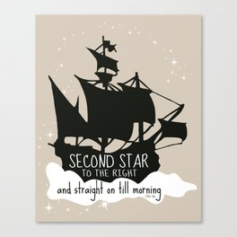 Second star to the right and straight on till morning - Peter Pan Inspired Art Print  Canvas Print
