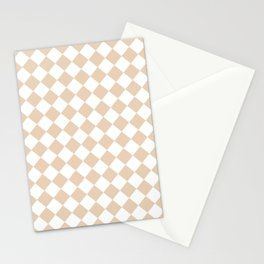 Diamonds - White and Pastel Brown Stationery Cards