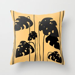 gold and black leaves Throw Pillow