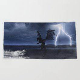 Dragon in the darkness Beach Towel