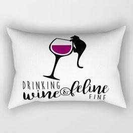 Drinking Wine and Feline Fine  |  Crazy Cat Lady Rectangular Pillow