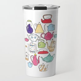 cute teapot collection on white Travel Mug