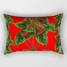 Decorative  Red & Grey Tropical Botanical Green Foliage Rectangular Pillow