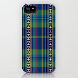 emerald and navy dobbie plaid iPhone Case