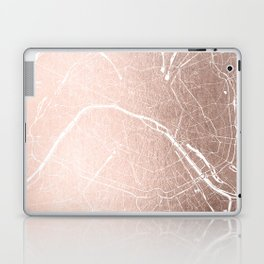 Paris France Minimal Street Map - Rose Gold Glitter on White Laptop & iPad Skin