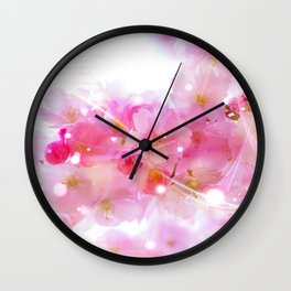 Japanese Sakura Tree with Pastel Pink Blossoms Wall Clock