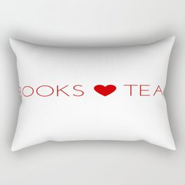 Books Love Tea Red Lettering with Red Heart Rectangular Pillow