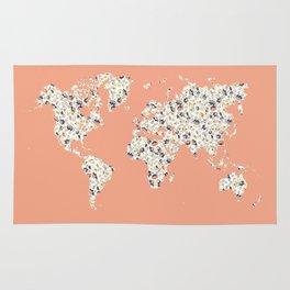 Floral world map Rug