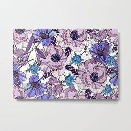 Cute beautiful floral seamless pattern. Ultraviolet roses, violas and meadow flowers. Metal Print
