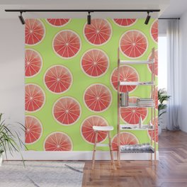 Pink Grapefruit Slices Pattern Wall Mural