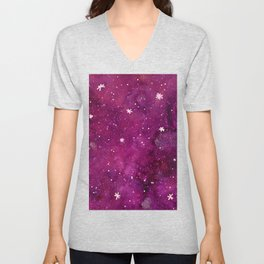 Watercolor galaxy - pink and purple Unisex V-Neck