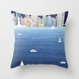 New York City NYC skyline panorama Manhattan Throw Pillow
