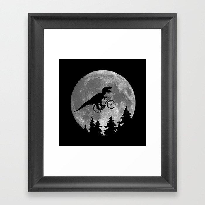 Biker t rex In Sky With Moon 80s Parody Gerahmter Kunstdruck