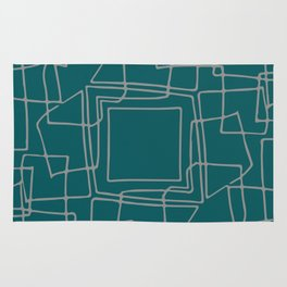Decorative green and grey abstract squares Rug