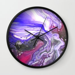 Pipe Down -  Purple Fluid Liquid Painting Pink Grey Swirls Marble Wall Clock
