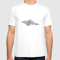 Dolphin Mama and Baby White MEDIUM Mens Fitted Tee