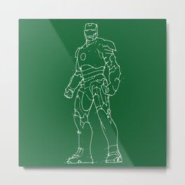Iron man green background handmade drawing Metal Print