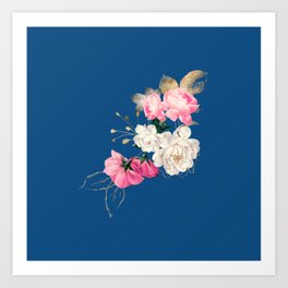 Roses on Classic Blue Art Print