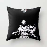 guns Throw Pillows featuring Holy Guns by MRCRMB